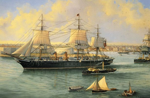 "HMS Warrior 1860    Oil on canvas 24"" x 37"" 1997  Commissioned by the Captain of the ship.  This painting shows HMS Warrior leaving Portsmouth Harbour on her first commission in 1861.  She was built as Britain's first ironclad battleship to counter the perceived threat of the French battleship 'Gloire'.  HMS Warrior never fired a shot in anger and she can now be seen in her berth in Portsmouth Historic Dockyard."