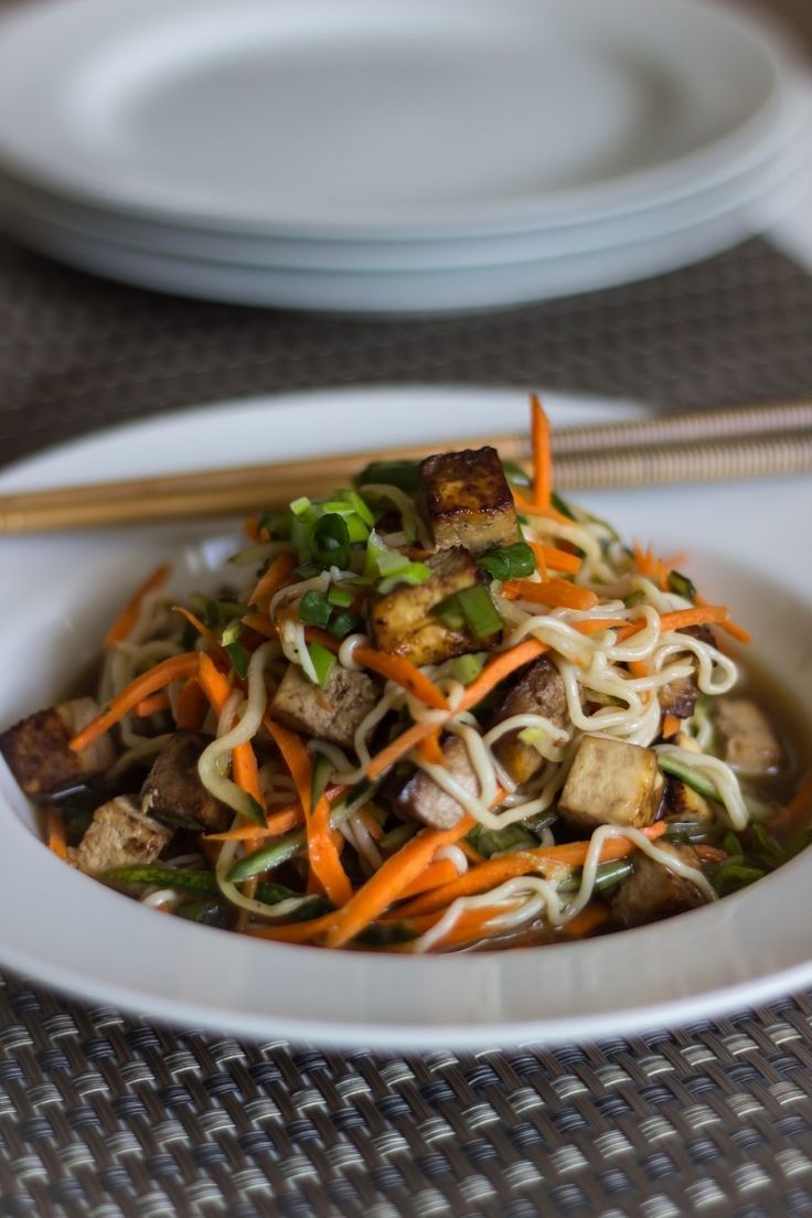 This bright and tasty Vietnamese noodle salad is a refreshing summer dish, and with the tofu, easily serves as a main course.