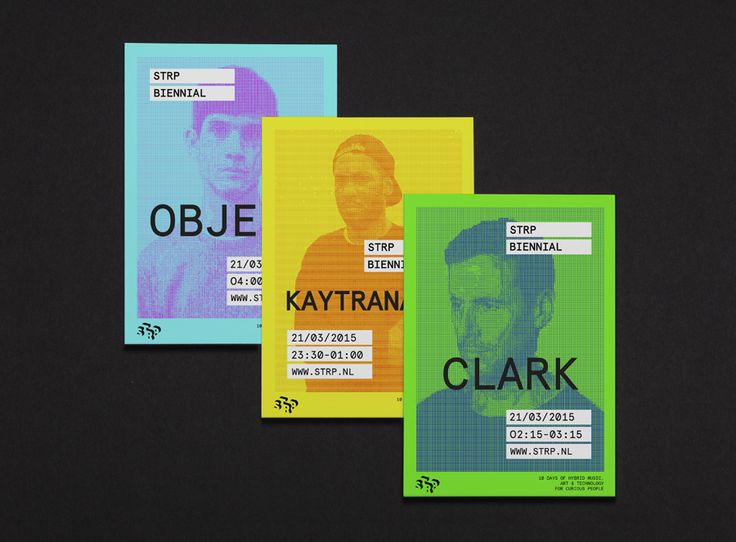 Flyers by Raw Color for Dutch art, technology and experimental pop culture festival STRP 2015.