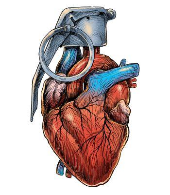 Arte HEART GRENADE de Carbine | Disponível em camiseta, poster, caneca e case de celular. Só na @toutsbrasil