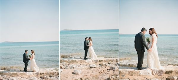 The perfect first look by the sea   Luxury destination wedding in Greece
