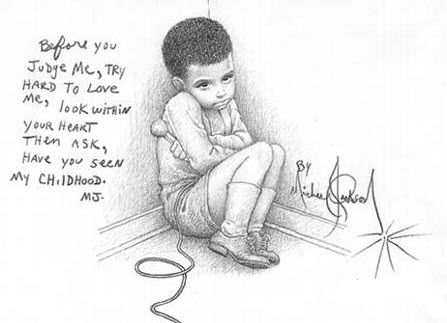 isolation was a common theme in this story. Shown is a picture drawn by pop artist Michael Jackson of an isolated child.