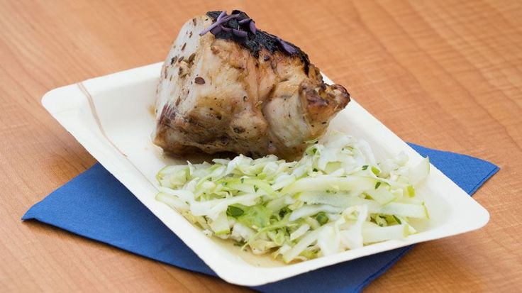 Bourbon Chicken with Cabbage and Apple Slaw