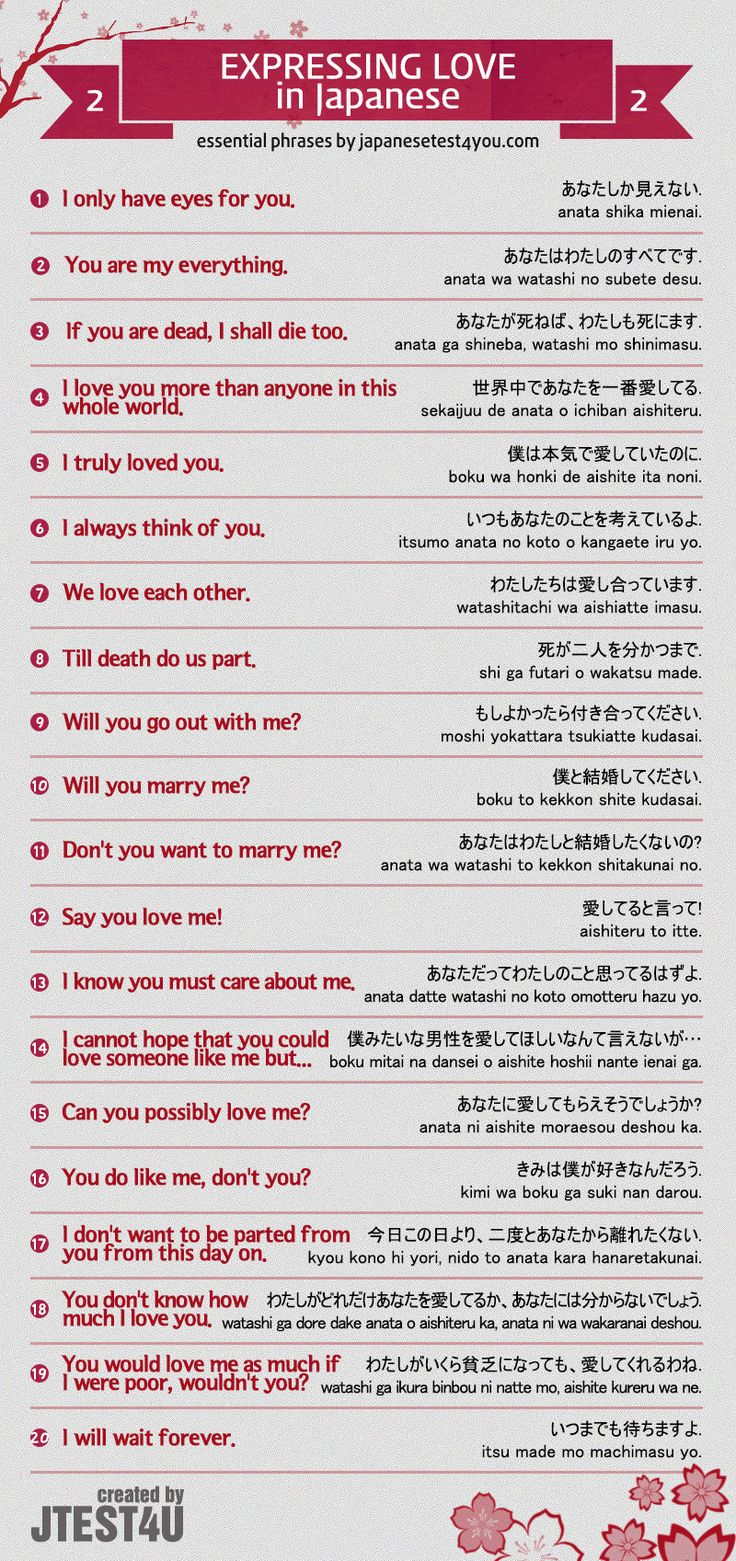 How to express your love in Japanese part 2. http://japanesetest4you.com/infographic-how-to-express-your-love-in-japanese-part-2/