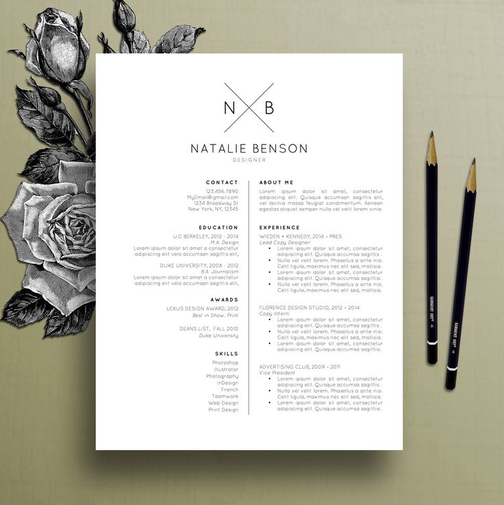 Modern Resume Template, Cover Letter Template for Word, Professional Resume Template Design, Creative Resume, Free Resume Template, Natalie by TheCreativeResume on Etsy https://www.etsy.com/listing/269468671/modern-resume-template-cover-letter