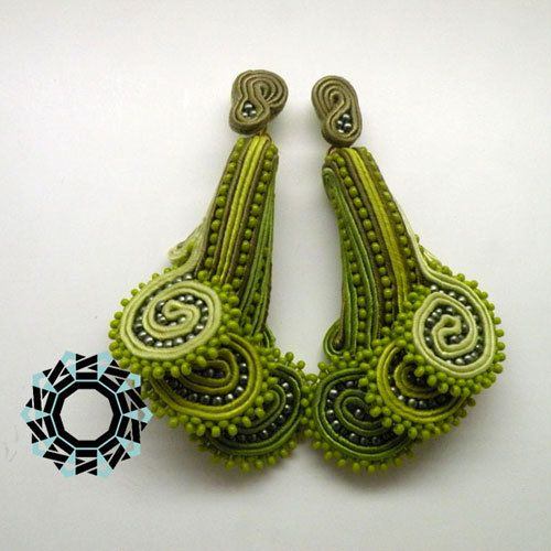 FLORAL 3D SOUTACHE EARRINGS - FERN from TENDER DECEMBER by DaWanda.com