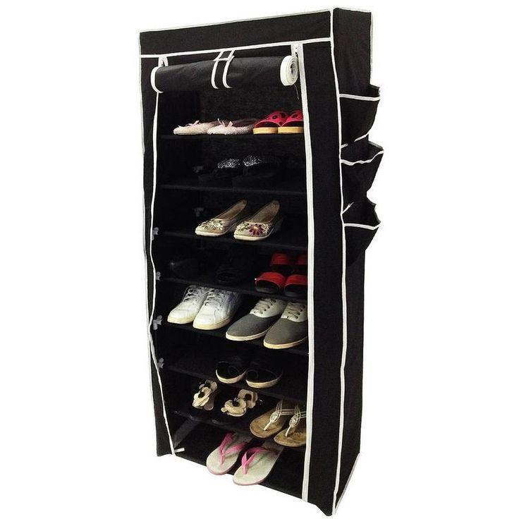 Penderie Armoire Placard A Chaussures 6 Poches Laterales 160 X 58 X 28 Cm Noir Poids 3 Kg Todeco A Placard A Chaussures Penderie Meuble Chaussure