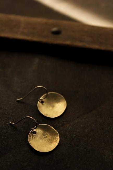 Brass Oval Plate Earrings - S - | IRRE
