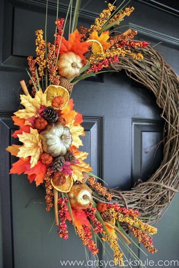 71+ Beautiful DIY Fall Door Wreath Ideas That Impress Your Visitors