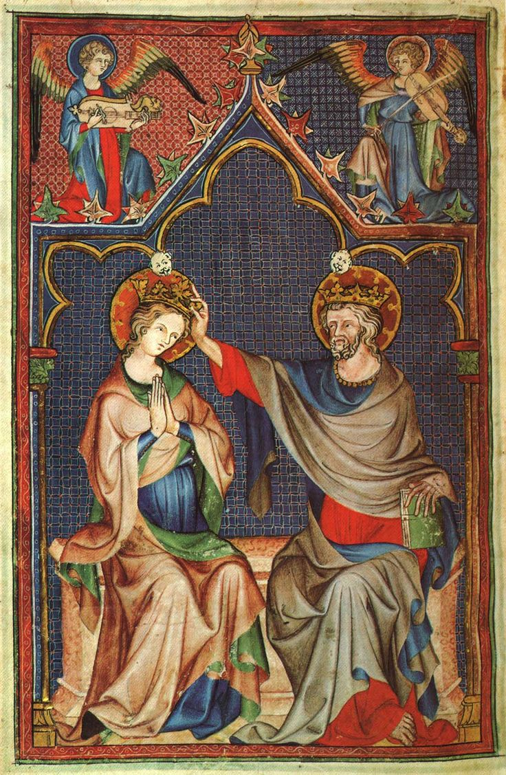 Image 103 This image of the coronation of the Virgin is one of five miniatures painted in the 1330s by a second artist on pages left blank by the first Master of the De Lisle Psalter.