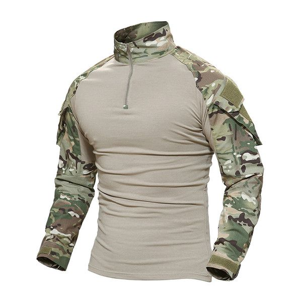 New Men Military Army Long Sleeve Shirts Tactical Work Casual Outdoor Shirt UK