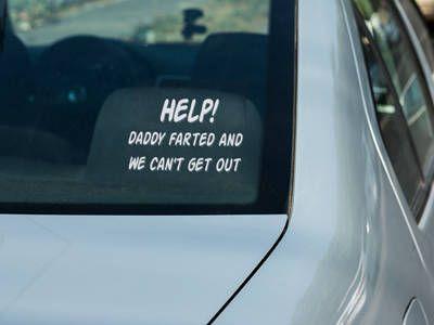 Vinyl car window decal help daddy farted funny