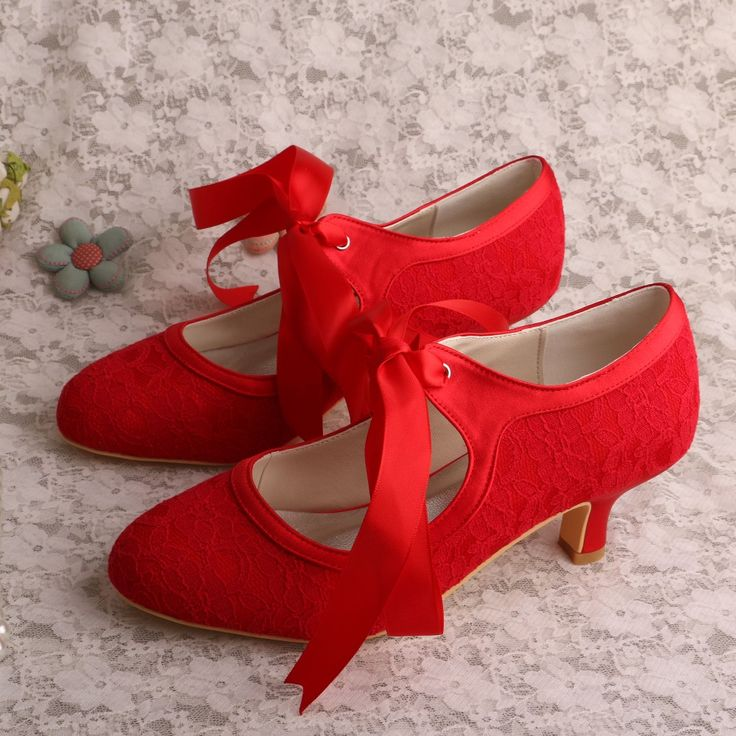 Cheap low heels, Buy Quality wedding shoes directly from China heel heels Suppliers: Wedopus MW306 Wedding Shoes Online Red Lace Satin Low Heels