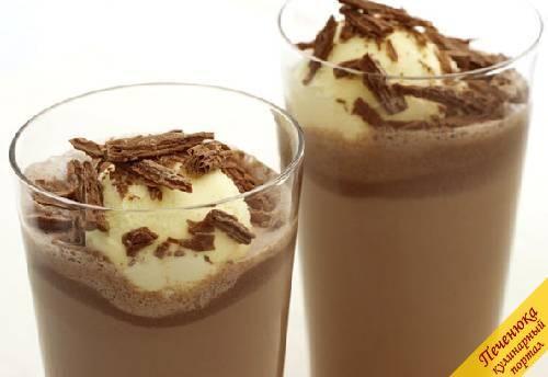 Шоколадный молочный коктейль с мороженым (рецепт) — Кулинарный портал Печенюка