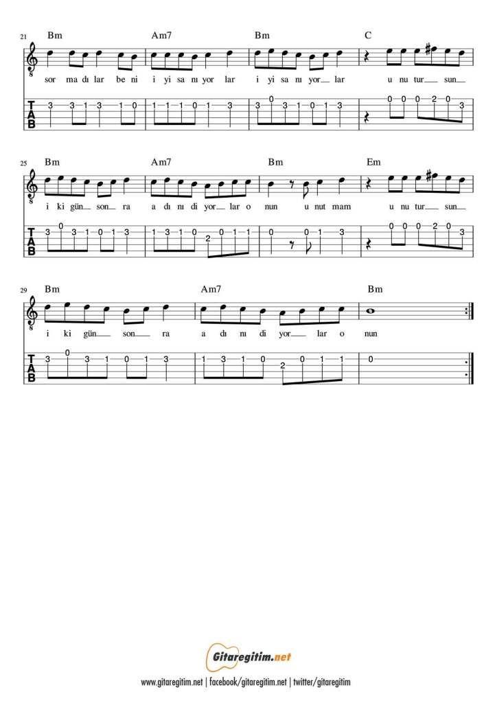 Beni Iyi Saniyorlar Gitar Nota Tab Gitaregitim Net Notalara Dokulmus Muzik Muzik Egitimi Muzik