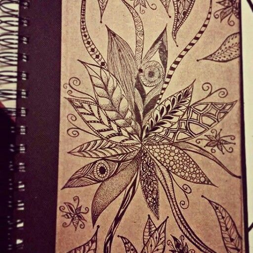 Notebook cover. Freehand. Black Ink . My design.