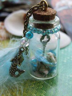 The Mermaid's Key Miniature bottle necklace. $12.00, via Etsy.