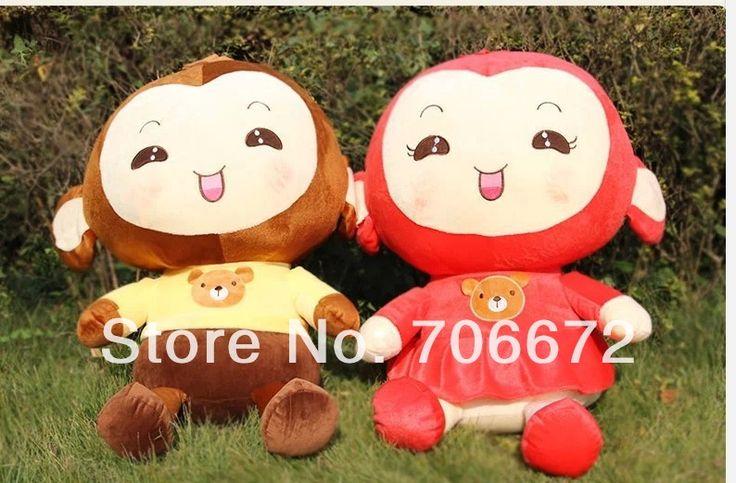 Чучела животных прекрасный обезьяна ПП хлопка большой 60 см красная юбка девушки обезьяна и желто-коричневый мальчик обезьяна плюшевые игрушки куклы подарок t6957