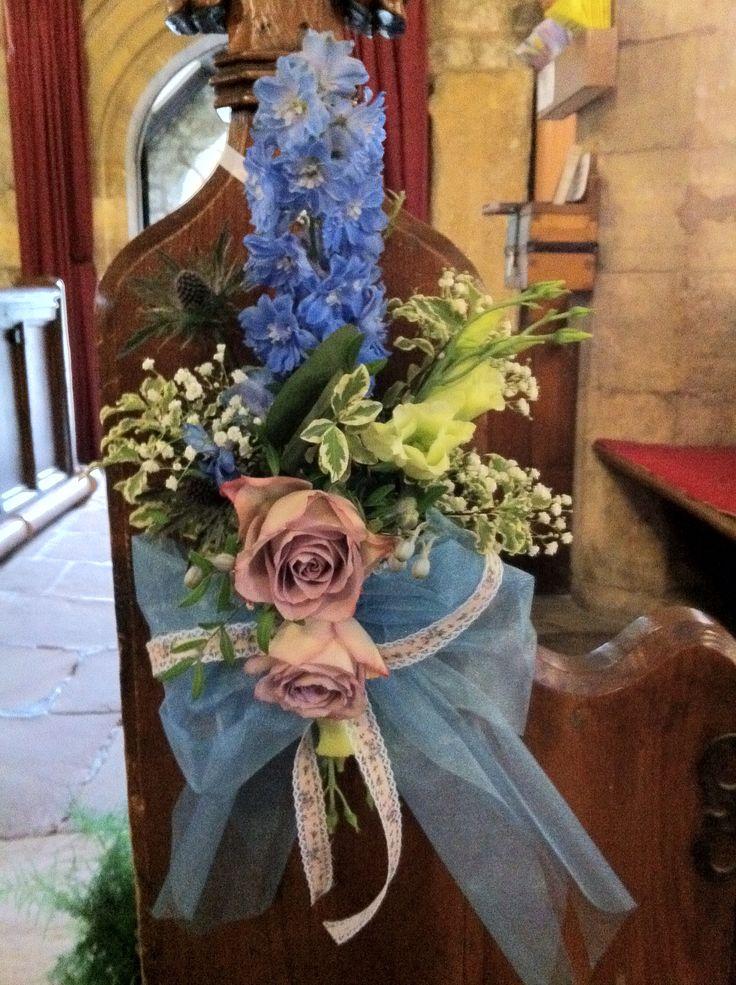 Rustic pew end - hydrangeas, vintage roses and gypsophila