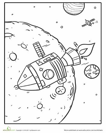 One thing that never goes out of style with kids is outer space. Encourage your child's natural need to explore with our extensive collection of outer space coloring sheets, featuring rocket ships and robots.