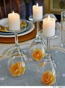 Upside down wine glasses with candles for a #wedding #centerpieces