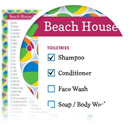 Beach House Packing List - Download here: https://www.alejandra.tv/shop/printable-home-organizing-checklists/?utm_source=Pinterest&utm_medium=Pin&utm_content=Checklistk&utm_campaign=Pin  If you are going to the beach and renting a beach house fully equipped with a kitchen, living room and all, this is the list for you that contains everything you need to pack!