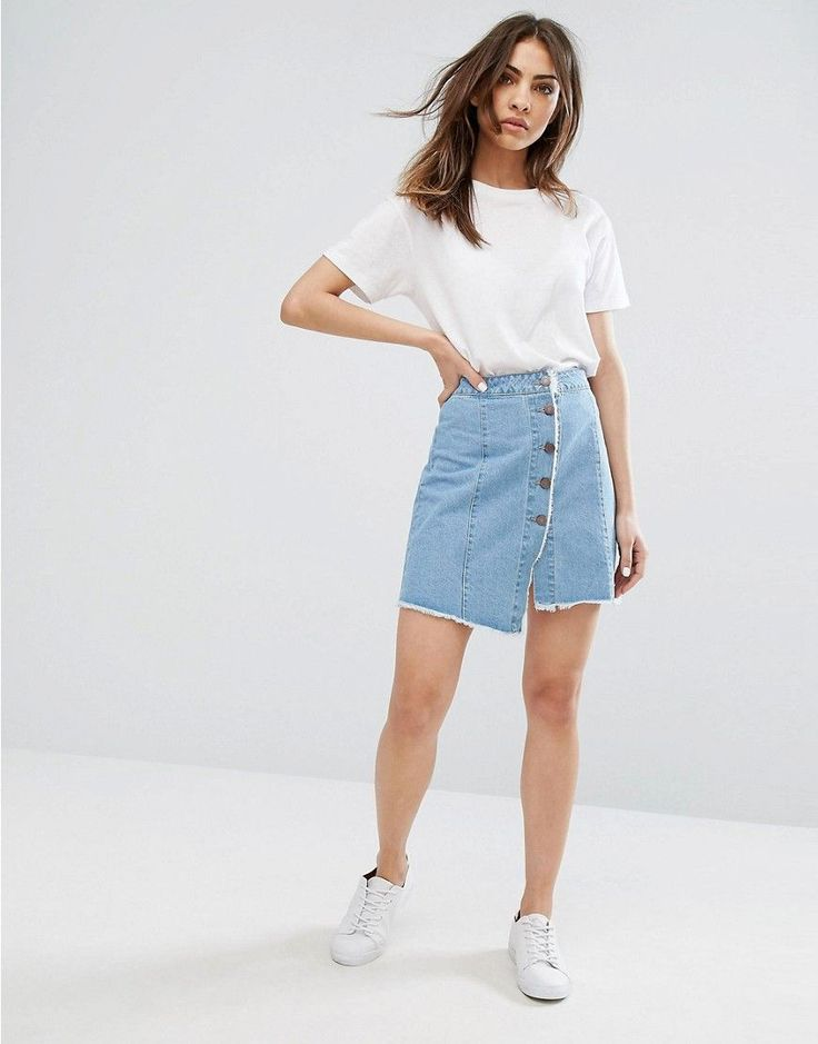 Noisy May Button Through Denim Skirt with Raw Hem - Blue