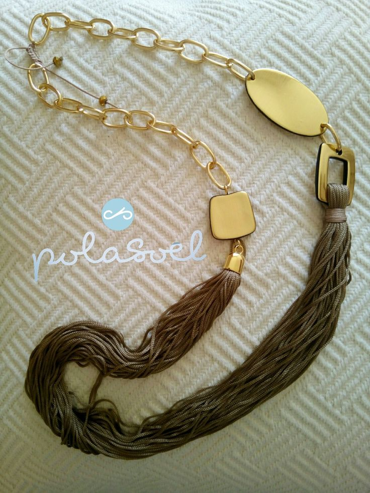 Macrame chain necklace, with gold plated elements,double platinium,brown/camel floss by polasoeljewelry on Etsy