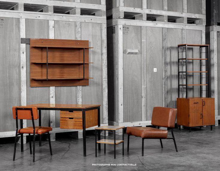 Vente ONLINE : Mobilier universitaire Attribué à Pierre Guariche, 1950 // Résidence Universitaire du campus Paris/Orsay Du 25 janvier 18h10 au 17 février 2018 12h00  #Guariche #design #student #wood #inspiration #photo #noiretblanc #Blackandcolor #furniture #cool