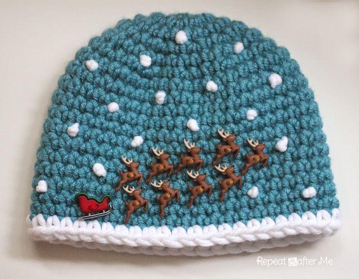 Repeat Crafter Me: Crochet Santa Sleigh and Reindeer Hat
