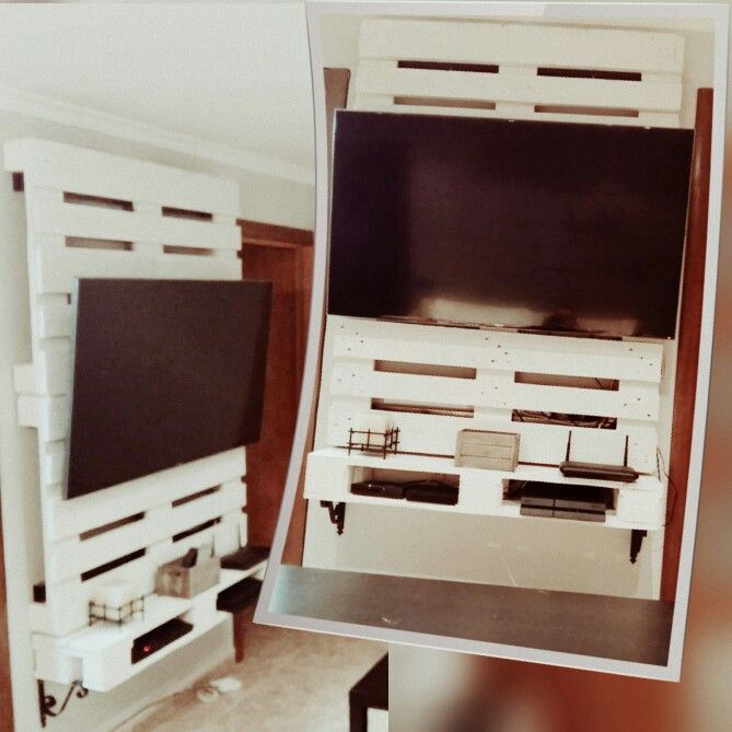 Soporte tv palet con mueble para dvd mis proyectos for Mueble salon palets