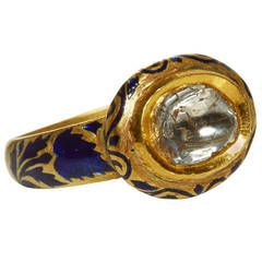 Jade Jagger Polki Diamond Dark Blue Enamel and Gold Ring