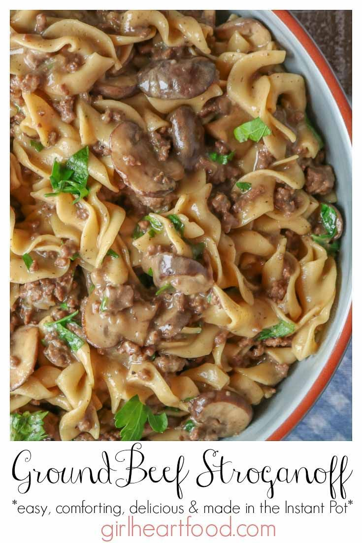 Easy Ground Beef Stroganoff Made In Instant Pot Recipe Ground Beef Stroganoff Easy Ground Beef Stroganoff Beef Stroganoff