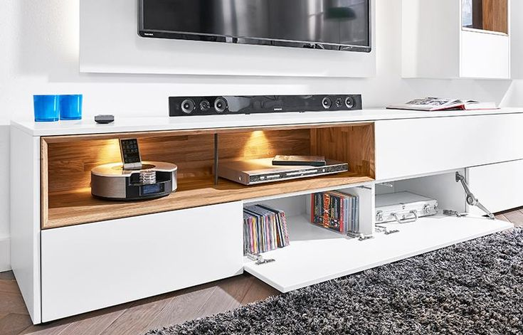Modern wall storage system in matt white TV unit & 2 wall cabinets