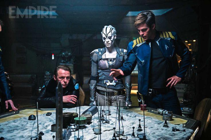Simon Pegg, Sofia Boutella and Chris Pine make a plan in Star Trek Beyond