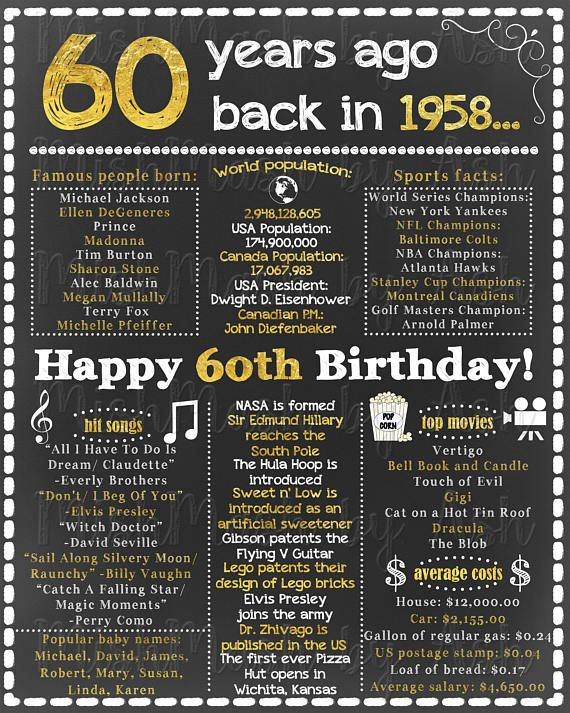 60th Birthday for Her, 60th Birthday For Him, Happy 60th ...