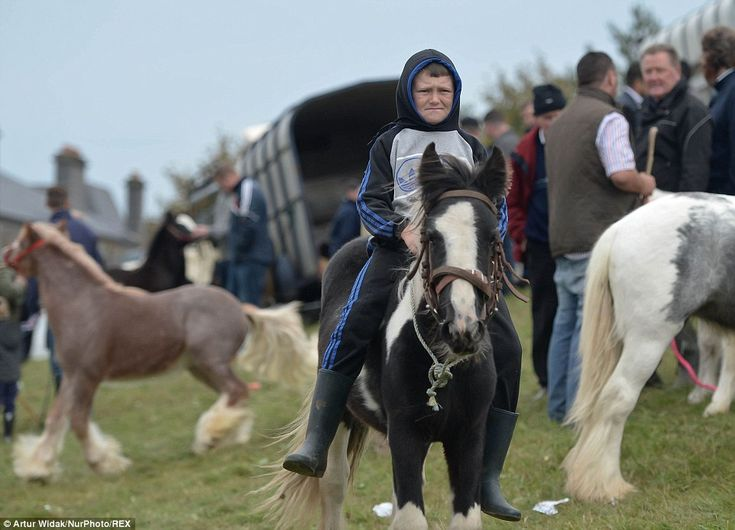 A young rider sits on his pony at the fair, which is often regarded as one of the oldest a...