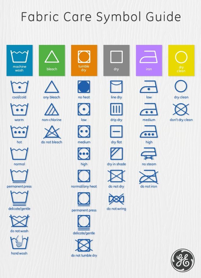 Our easy-to-follow fabric care guide breaks down the symbols found on clothing tags. Wash clothes in our GE RightHeight washer on the proper temperature and cycle every time. Decode drying, ironing and bleaching symbols to keep your fabrics lasting longer.