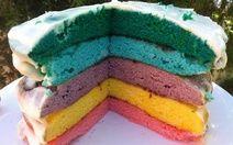 Rainbow layered vanilla cake Recipe