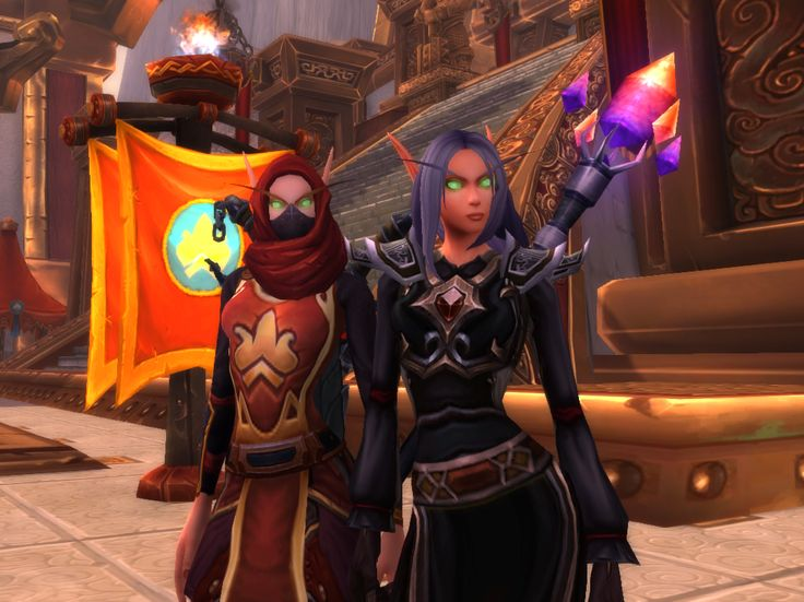 I hit max level on WoW, 110, with my Sin'dorei Rogue, Reylethe Shadegrove!! She's on the left. ♥ Jenn's Sin'dorei Warlock, and Rey's partner, is on the right~!!