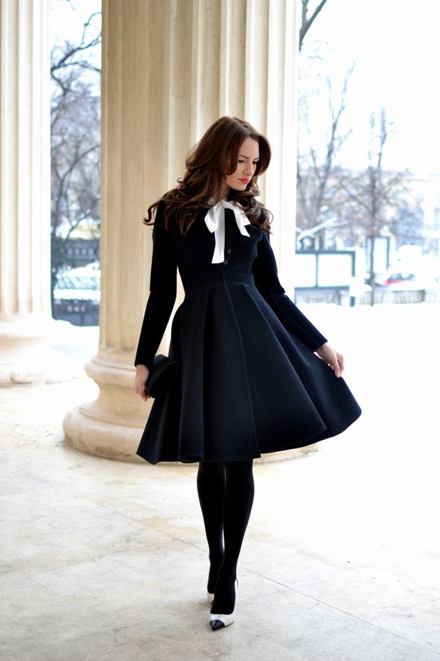 The Perfect Coat-- full skirt black neoprene