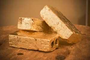 Gold brick bookends