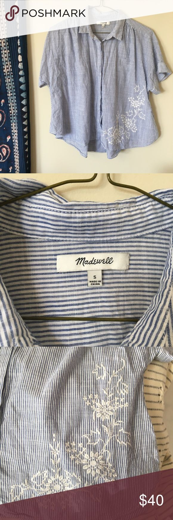Madewell Embroidered Hilltop Shirt An easy, airy shirt with a shirred back and softly curved hem. Just a touch cropped, this striped button-down has pretty floral embroidery inspired by the handwork on a Victorian table runner. Madewell Tops Button Down Shirts