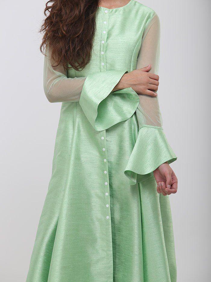 Green Raw Silk Kurta cum Dress