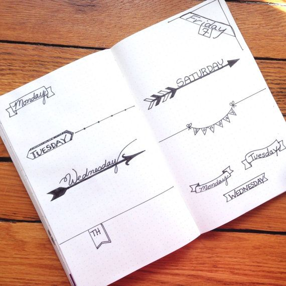 Daily Planner Headers Bullet Journal Stencil