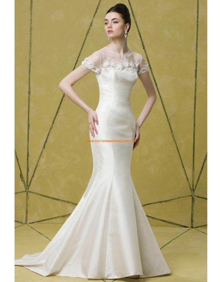 Traîne moyenne Satin Elégant & Luxueux Robes de mariée 2014