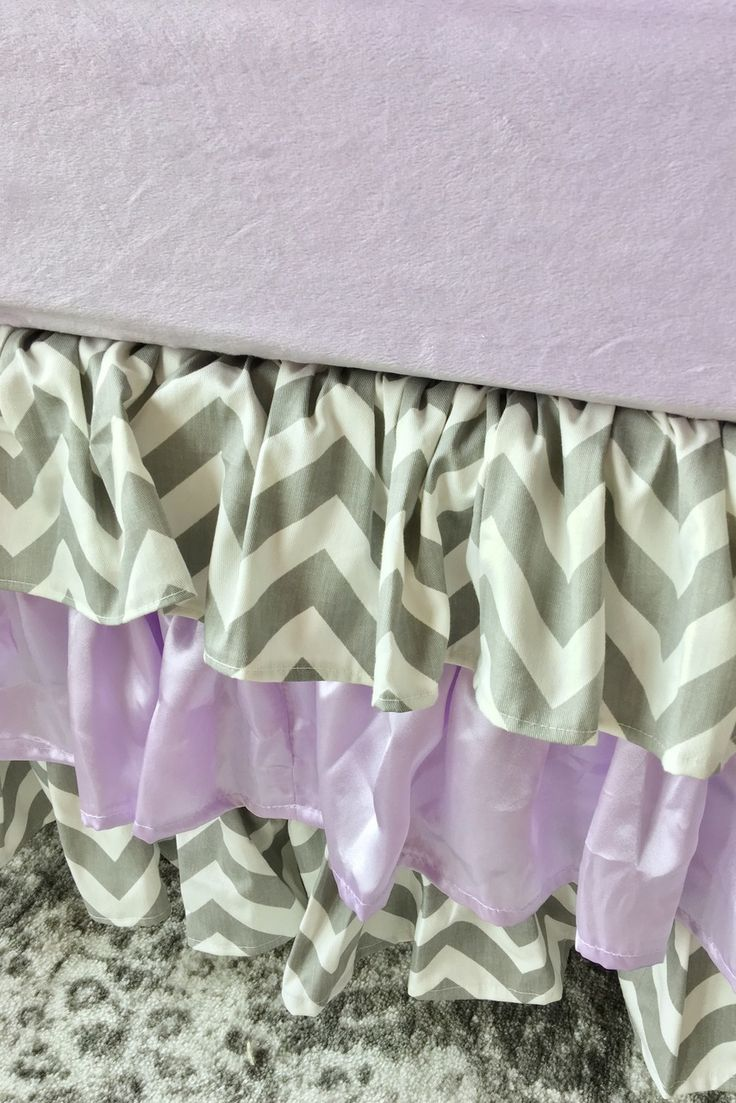 Toddler Bedding - Lavender and Grey Chevron