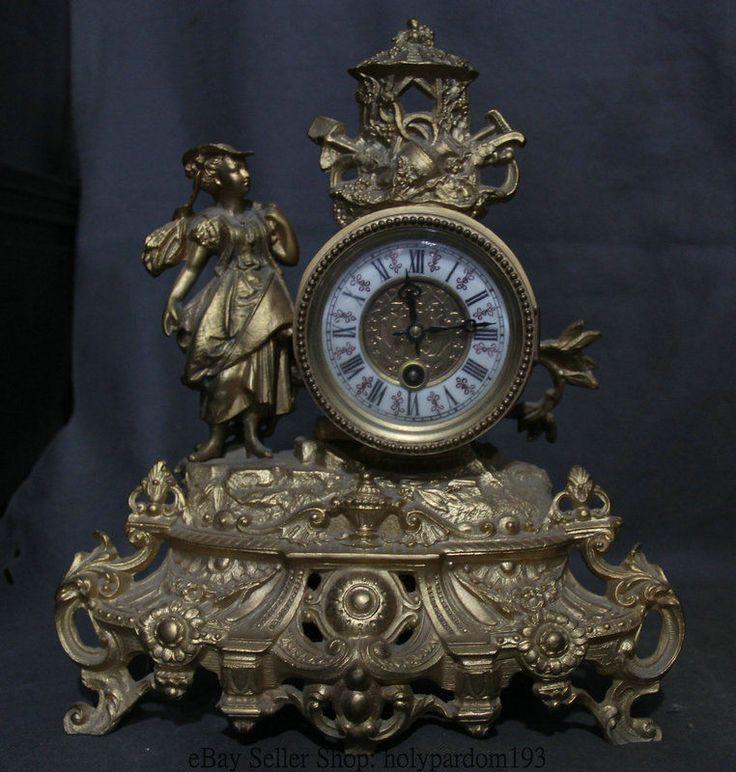 "13"" Antique China Copper Gilt West Little Princess Girl Machinery Shelf Clock"