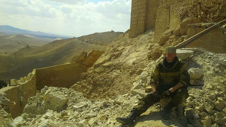 Spetsnaz operator of the Russian Federation above Palmyra, Syria