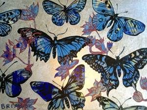 David Bromley Sliver and Purple Butterflies